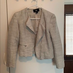 Silver Linen-look fitted blazer